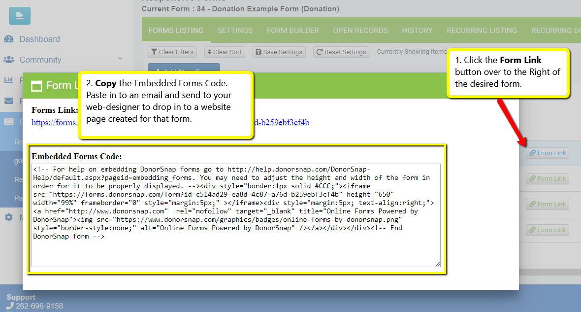 Embedding An Online Form To Your Website Donorsnap Support