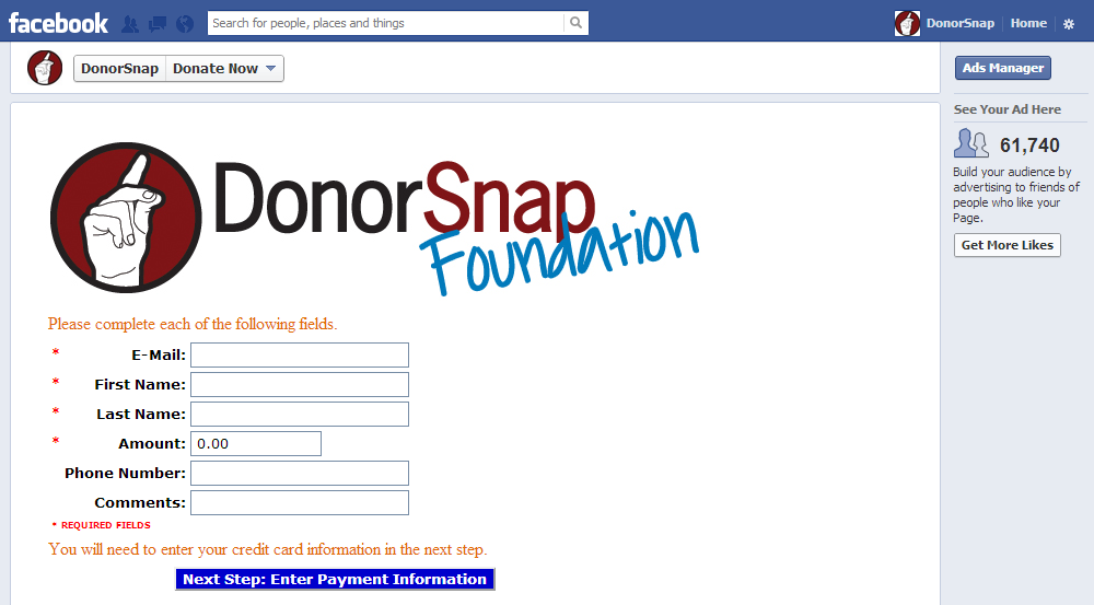 Donate Now Form as a Facebook Tab