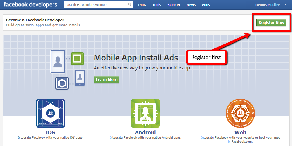 Register as a Facebook Developer